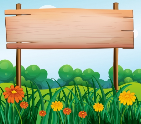 Illustration of a wooden signboard in the garden Illustration