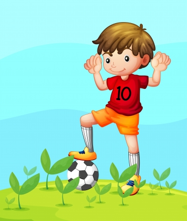 Illustration of a young football player Stock Vector - 18610462