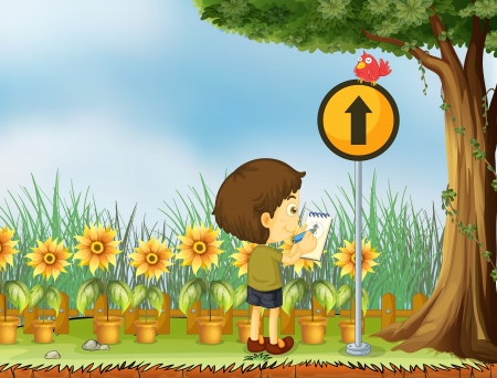 Illustration of a boy trying to draw the bird above the yellow post Vector