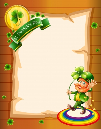 feast of saint patrick: Illustration of a blank paper with a St. Patricks Day greeting and a man