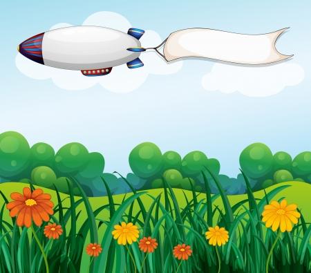 blimp: Ilustraci�n de un vac�o se�alizaci�n llevada por el dirigible blanco