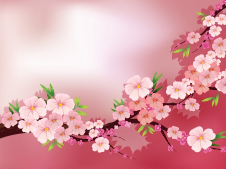 Illustration of a stationery with fresh pink flowers Vector