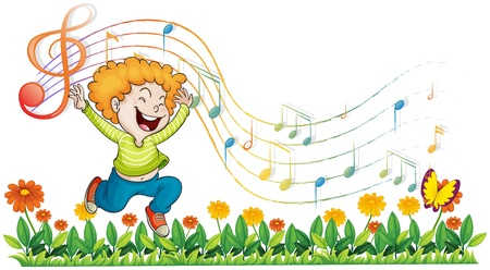 in tune: Illustration of a boy dancing in the garden with musical notes on a white background