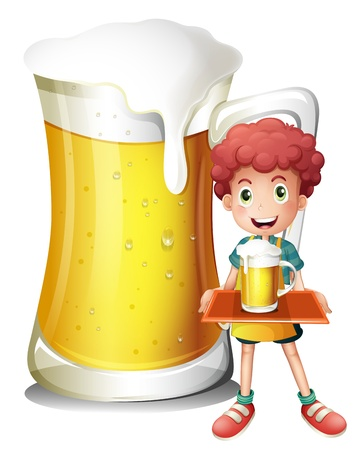 breakable: Illustration of a young boy holding a glass of beer beside a giant beer on a white background Illustration