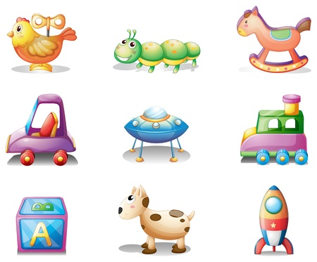Illustration of the nine different toys for children on a white background Vector