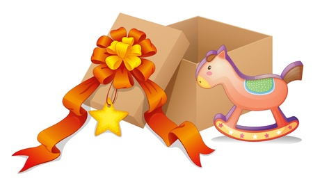 cartoon present: Illustration of a box with a ribbon and a toy on a white background