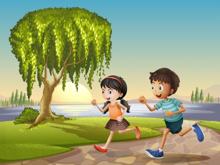 Illustration of the two kids running together  Vector