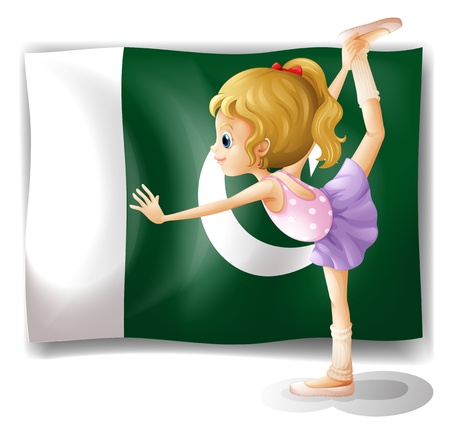 pakistan flag: Illustration of a young ballet dancer in front of the Pakistan flag on a white background Illustration