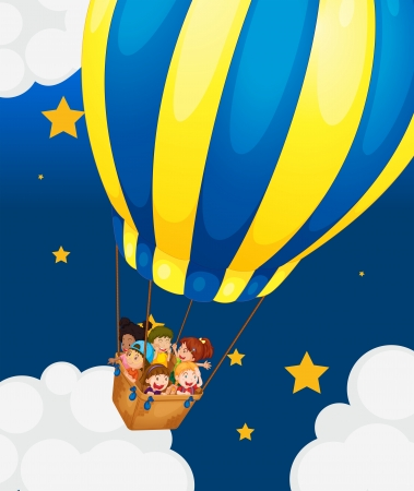 Illustration of the six kids riding in the air balloon Vector