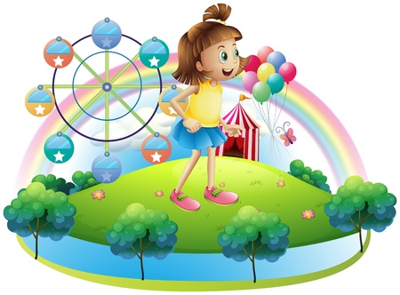 venue: Illustration of a young girl at the amusement park on a white background