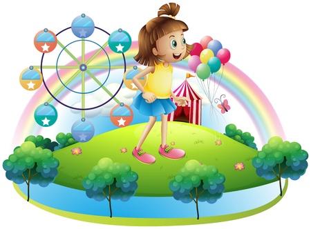 venue: Illustrazione di una giovane ragazza al parco di divertimenti su uno sfondo bianco