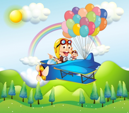 flying monkey: Illustration of the two monkeys riding in a plane with colorful balloons