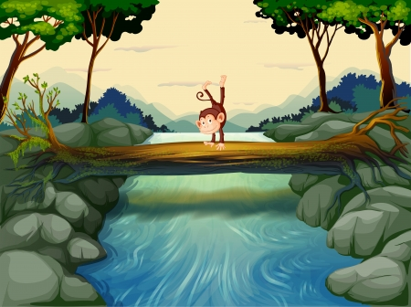 river rock: Illustrazione di una scimmia sopra il tronco al fiume