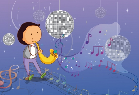 picutre: Illustration of a man playing the trumpet with disco lights