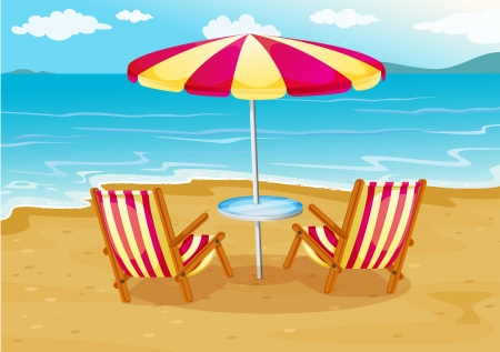 empty chair: Illustration of a beach umbrella with chairs at the seashore