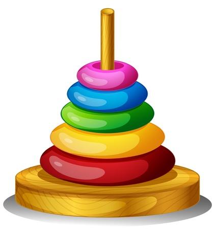 Ilustración de un juguete de colores redonda sobre un fondo blanco