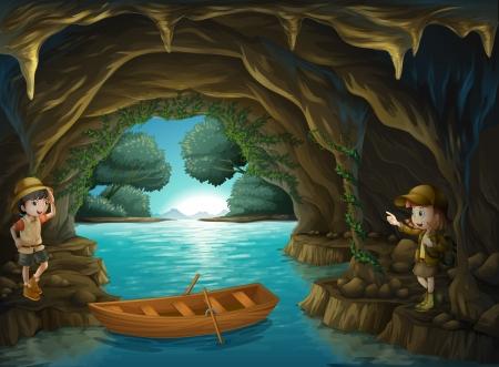 river rock: Illustrazione dei giovani esploratori all'interno della grotta Vettoriali