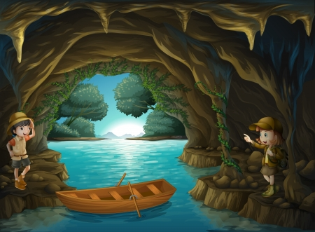 groty: Ilustracja młodych odkrywców wewnątrz jaskini Ilustracja