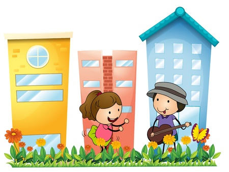 Illustration of a girl and a boy with a guitar in the garden on a white background Stock Vector - 18610788