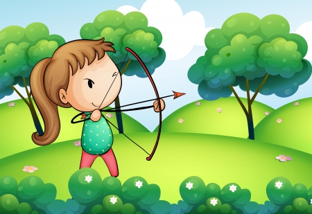 Illustration of a girl holding a bow and arrow in the hills Vector