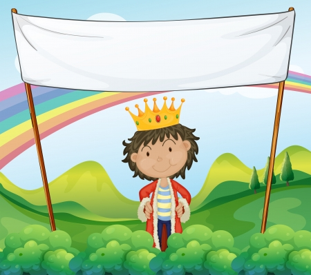 hill of the king: Illustration of a king standing below a white empty signage Illustration