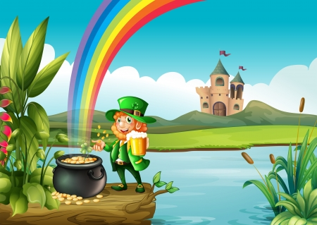 pot of gold: Illustration of a man and a pot of gold above the trunk across the castle