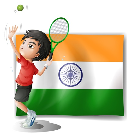 Illustration of the flag of India and the tennis player on a white background Vector