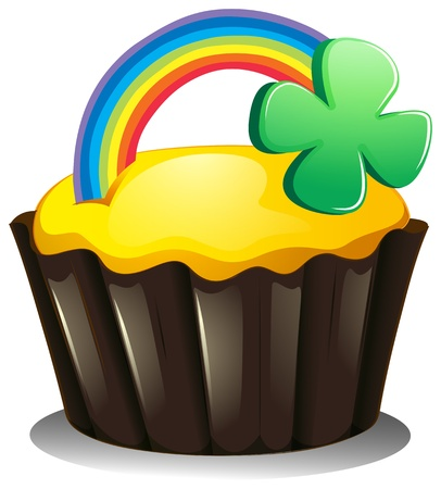 Illustration of a cupcake with a rainbow and a plant on a white background Vector