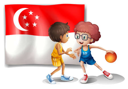 singaporean flag: Illustration of the Singaporean flag and the basketball players on a white background Editorial