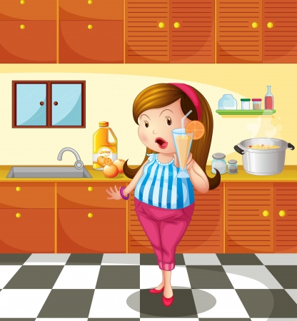 cocina caricatura: Ilustración de una señora que sostiene un jugo de naranja en la cocina