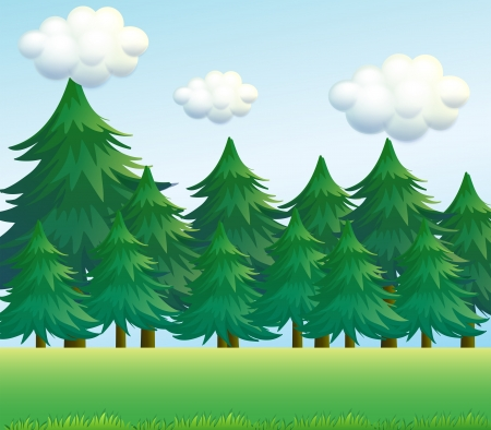 valley: Illustration of a pine tree scenery
