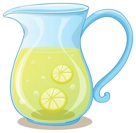 limonada: Ilustraci�n de una jarra de jugo de lim�n sobre un fondo blanco