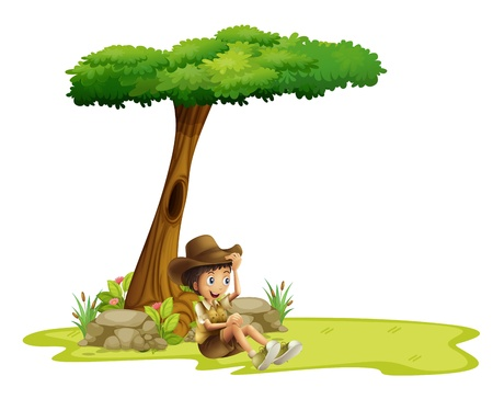 under tree: Illustration of a boy resting under a tree on a white background