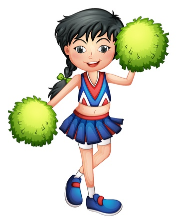 cheer: Illustration of a cheerleader with her green pompoms on a white background Illustration