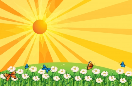 Illustration of a sunset scenery with butterflies in the garden