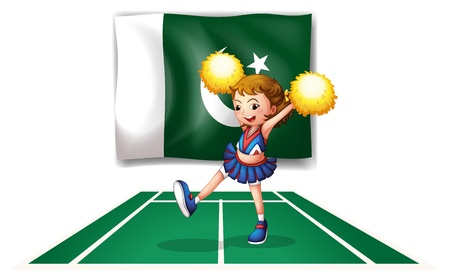pakistan flag: Illustration of a cheerleader dancing in front of the Pakistan flag on a white background