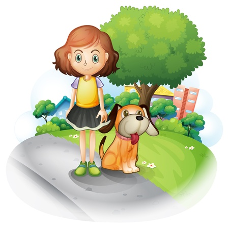 little girl sitting: Illustration of a young girl with a dog along the street on a white background