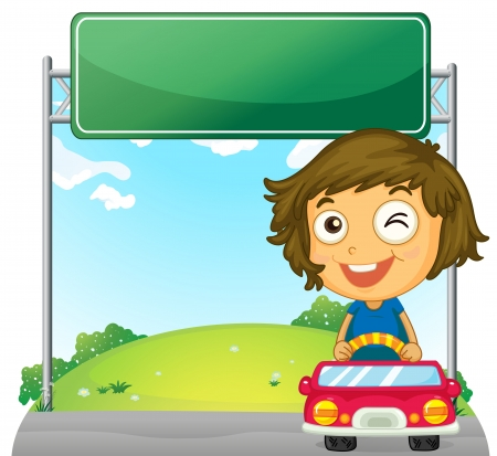Illustration of a playful little girl near an empty signage on a white background Stock Vector - 18607729