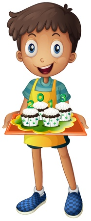 picutre: Illustration of a boy holding a tray of cupcakes on a white background Illustration