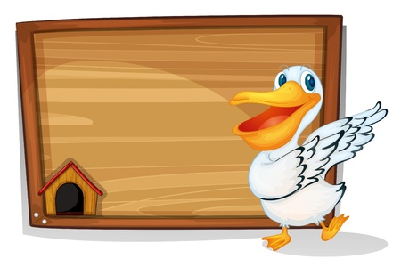 Illustration of a duck dancing beside a wooden blank board on a white background  Vector