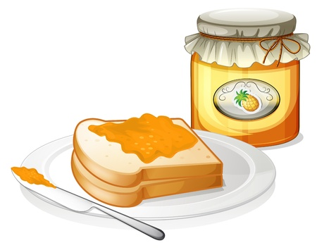 jam sandwich: Illustration of a bottle of pineapple jam and a sandwich in a plate on a white background