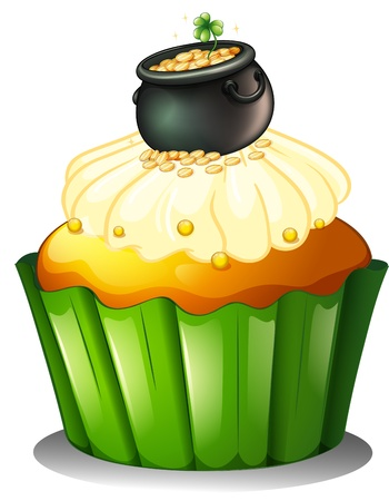 feast of saint patrick: Illustration of a pot of gold at the top of a cupcake on a white background