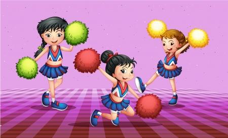 tanzen cartoon: Illustration der drei cheerdancers