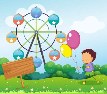 Illustration of an empty board near a boy with balloons Vector