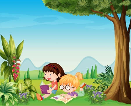 kids reading: Illustration of the two girls reading near the plants