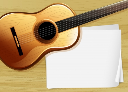 paper clip: Illustration of a guitar with an empty bondpaper Illustration