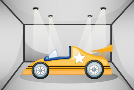 car show: Illustration of a yellow sports car inside the garage Illustration