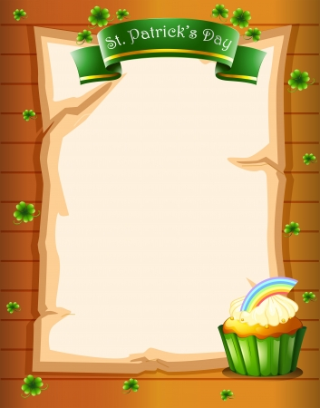 Illustration of a paper with a St. Patrick's Day greeting and a cupcake Stock Vector - 18610528