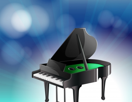 Illustration of a black classical piano Vector