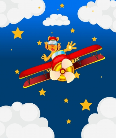 Illustration of a tiger in an aircraft in the sky Vector
